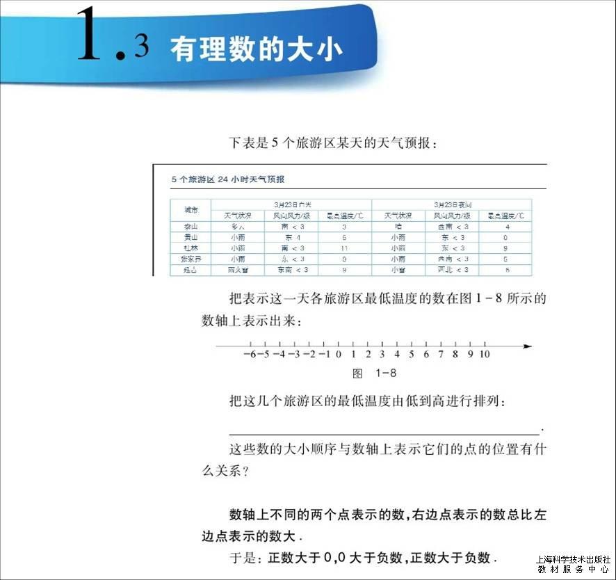 沪科版义务教育教科书数学七年级上册介绍